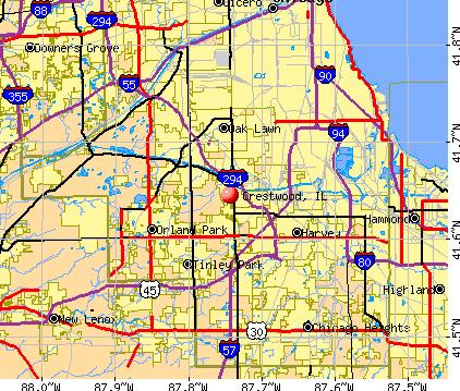 Mapa crestwood ill